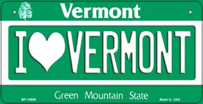 I Love Vermont Novelty Metal Bicycle Plate BP-10659