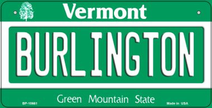 Burlington Vermont Novelty Metal Bicycle Plate BP-10661