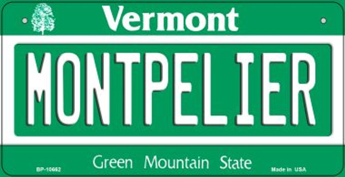 Montpelier Vermont Novelty Metal Bicycle Plate BP-10662