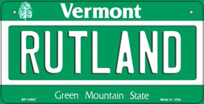 Rutland Vermont Novelty Metal Bicycle Plate BP-10667