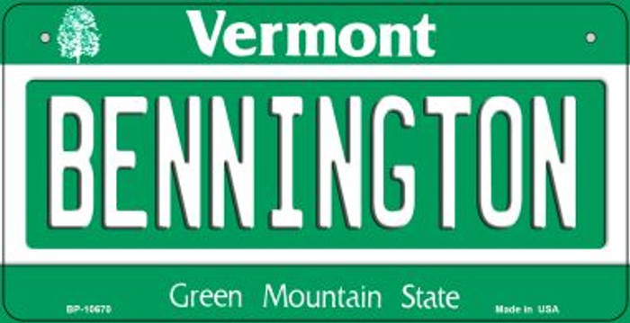 Bennington Vermont Novelty Metal Bicycle Plate BP-10670