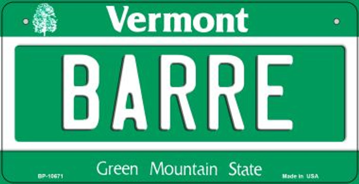 Barre Vermont Novelty Metal Bicycle Plate BP-10671