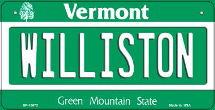 Williston Vermont Novelty Metal Bicycle Plate BP-10672