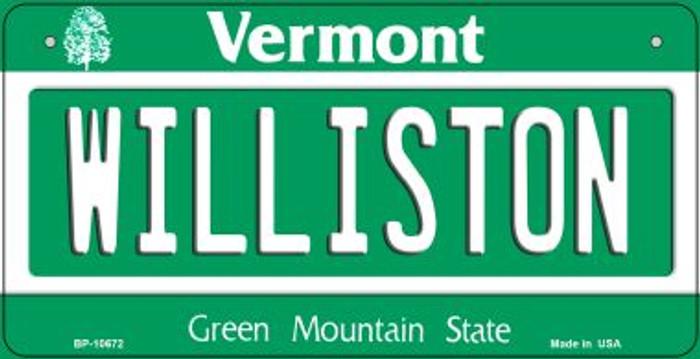 Williston Vermont Novelty Metal Bicycle Plate BP-10672