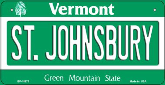 St Johnsbury Vermont Novelty Metal Bicycle Plate BP-10673