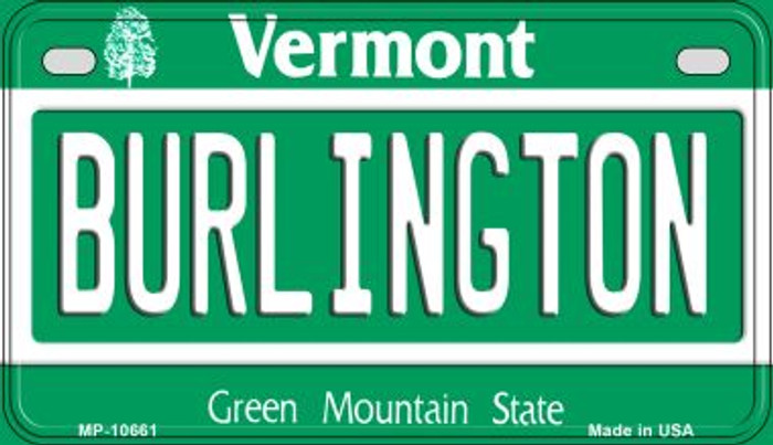 Burlington Vermont Novelty Metal Motorcycle Plate MP-10661