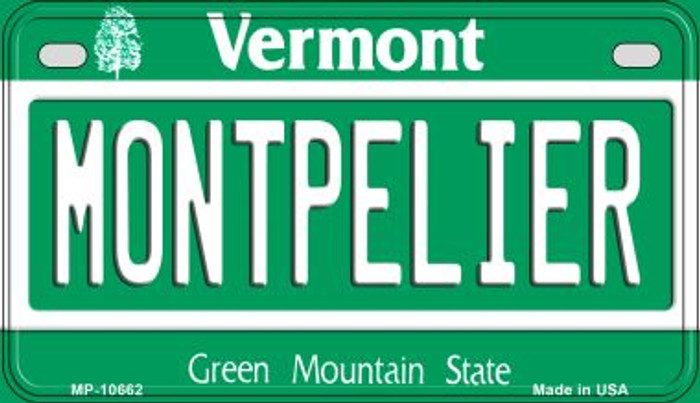 Montpelier Vermont Novelty Metal Motorcycle Plate MP-10662