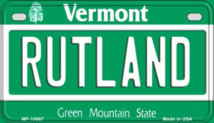 Rutland Vermont Novelty Metal Motorcycle Plate MP-10667