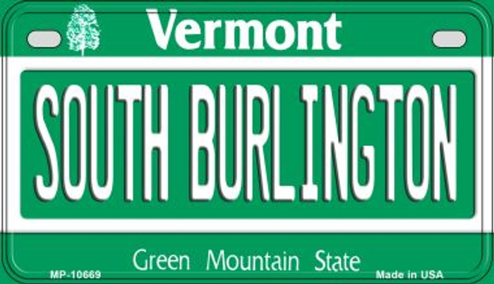 South Burlington Vermont Novelty Metal Motorcycle Plate MP-10669