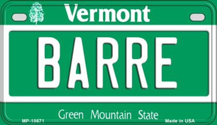 Barre Vermont Novelty Metal Motorcycle Plate MP-10671