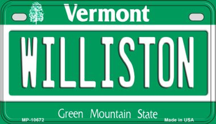 Williston Vermont Novelty Metal Motorcycle Plate MP-10672