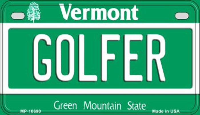 Golfer Vermont Novelty Metal Motorcycle Plate MP-10690