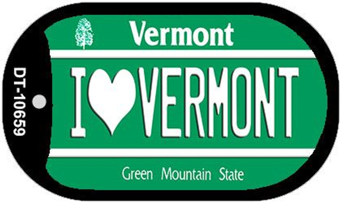 I Love Vermont Novelty Metal Dog Tag Necklace DT-10659