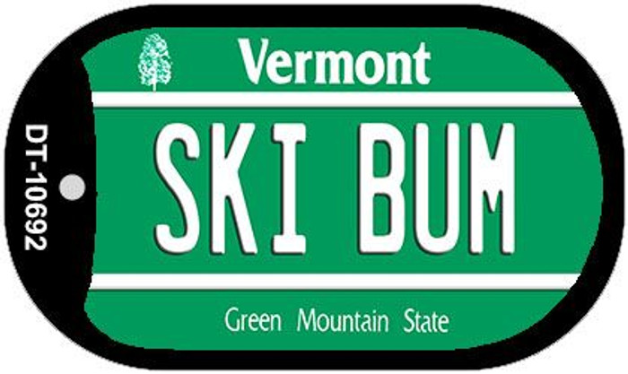 Ski Bum Vermont Novelty Metal Dog Tag Necklace DT-10692