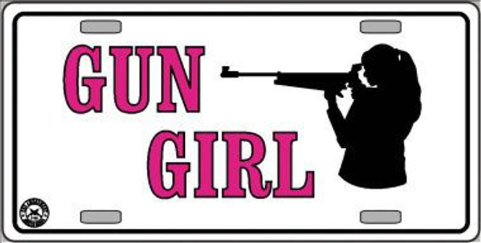 Gun Girl Metal Novelty License Plate LP-4696