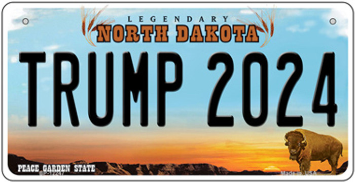 Trump 2024 North Dakota Novelty Metal Bicycle Plate BP-12247
