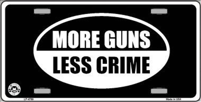 More Guns Less Crime Metal Novelty License Plate LP-4709