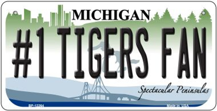 Number 1 Tigers Fan Michigan Novelty Metal Bicycle Plate BP-12264