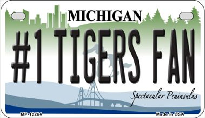 Number 1 Tigers Fan Michigan Novelty Metal Motorcycle Plate MP-12264