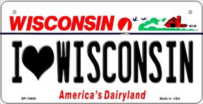 I Love Wisconsin Novelty Metal Bicycle Plate BP-10609