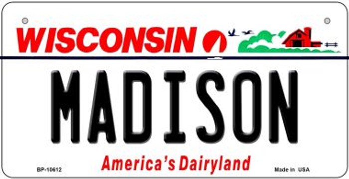 Madison Wisconsin Novelty Metal Bicycle Plate BP-10612