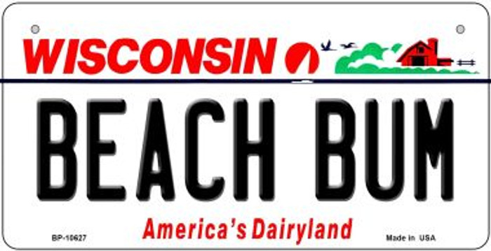 Beach Bum Wisconsin Novelty Metal Bicycle Plate BP-10627