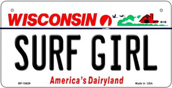 Surf Girl Wisconsin Novelty Metal Bicycle Plate BP-10629