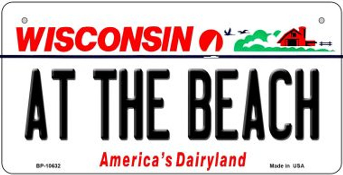 At The Beach Wisconsin Novelty Metal Bicycle Plate BP-10632