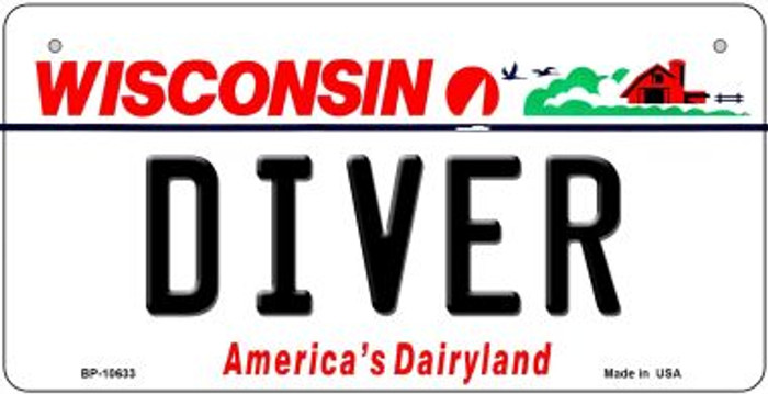 Diver Wisconsin Novelty Metal Bicycle Plate BP-10633