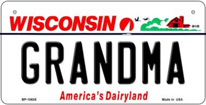 Grandma Wisconsin Novelty Metal Bicycle Plate BP-10635