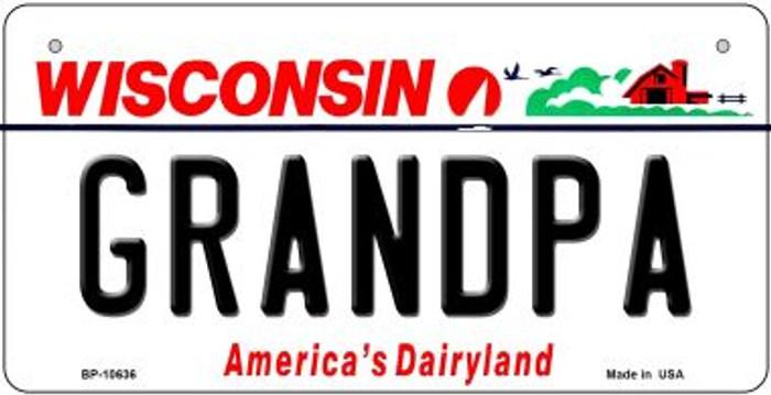 Grandpa Wisconsin Novelty Metal Bicycle Plate BP-10636