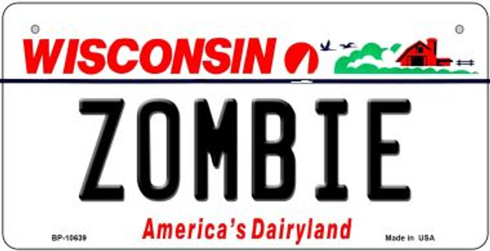 Zombie Wisconsin Novelty Metal Bicycle Plate BP-10639