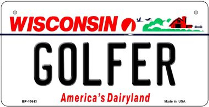 Golfer Wisconsin Novelty Metal Bicycle Plate BP-10643