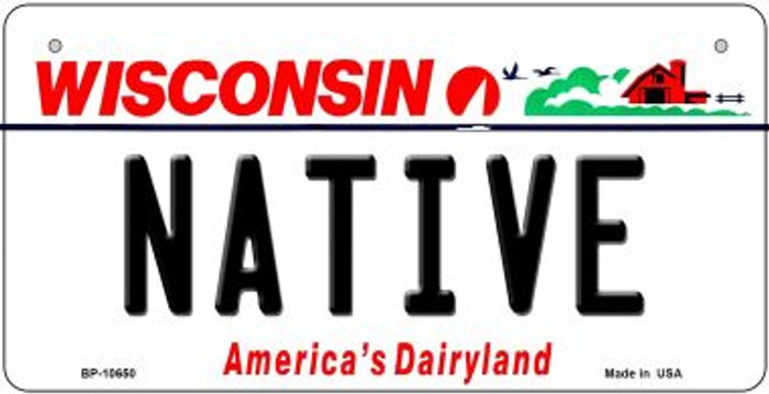 Native Wisconsin Novelty Metal Bicycle Plate BP-10650