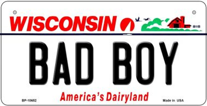 Bad Boy Wisconsin Novelty Metal Bicycle Plate BP-10652