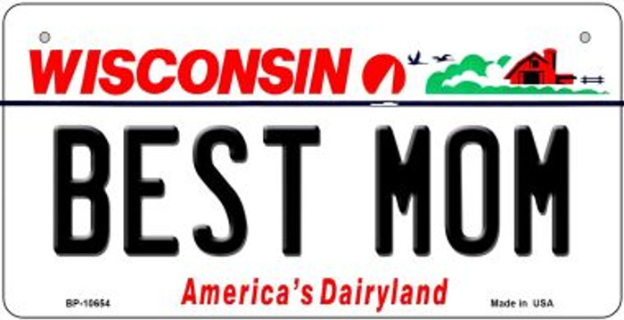 Best Mom Wisconsin Novelty Metal Bicycle Plate BP-10654