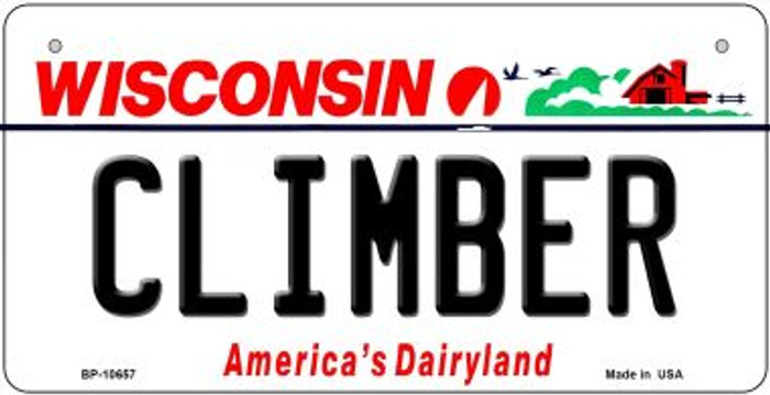 Climber Wisconsin Novelty Metal Bicycle Plate BP-10657