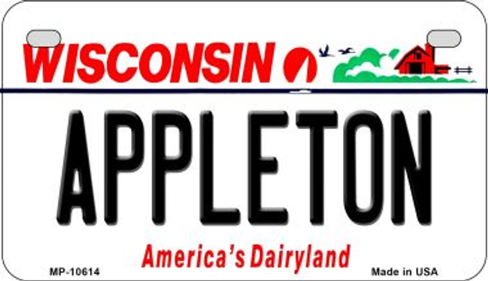 Appleton Wisconsin Novelty Metal Motorcycle Plate MP-10614