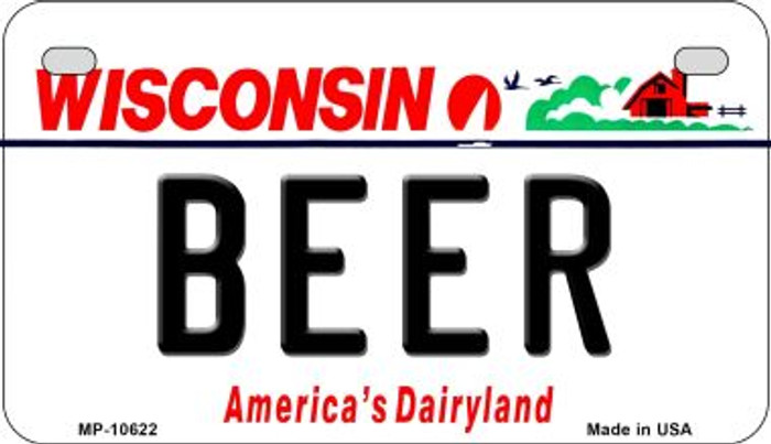 Beer Wisconsin Novelty Metal Motorcycle Plate MP-10622