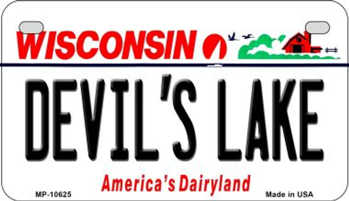 Devils Lake Wisconsin Novelty Metal Motorcycle Plate MP-10625