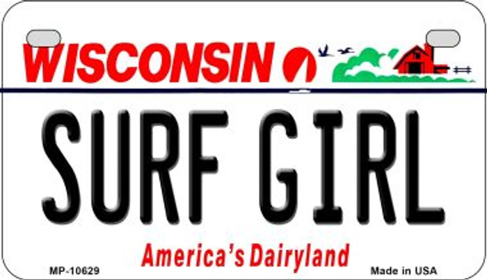 Surf Girl Wisconsin Novelty Metal Motorcycle Plate MP-10629