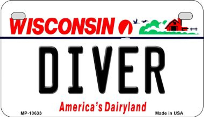 Diver Wisconsin Novelty Metal Motorcycle Plate MP-10633