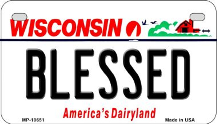 Blessed Wisconsin Novelty Metal Motorcycle Plate MP-10651