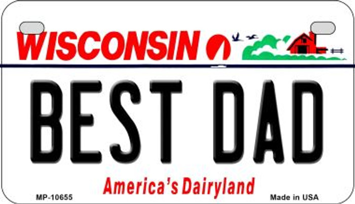 Best Dad Wisconsin Novelty Metal Motorcycle Plate MP-10655