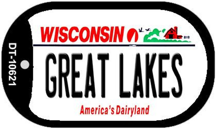 Great Lakes Wisconsin Novelty Metal Dog Tag Necklace DT-10621