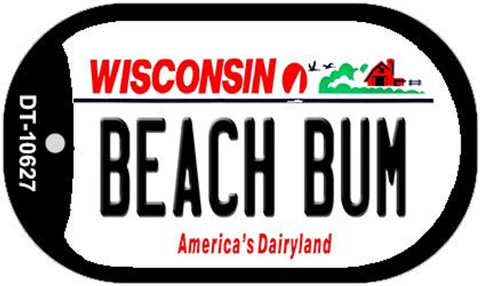 Beach Bum Wisconsin Novelty Metal Dog Tag Necklace DT-10627