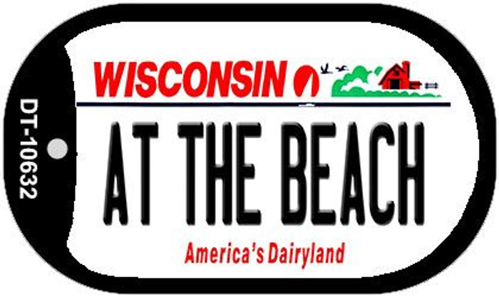 At The Beach Wisconsin Novelty Metal Dog Tag Necklace DT-10632