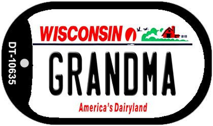 Grandma Wisconsin Novelty Metal Dog Tag Necklace DT-10635
