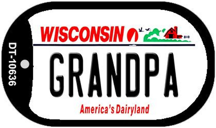 Grandpa Wisconsin Novelty Metal Dog Tag Necklace DT-10636