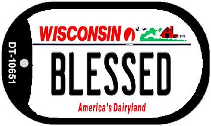 Blessed Wisconsin Novelty Metal Dog Tag Necklace DT-10651